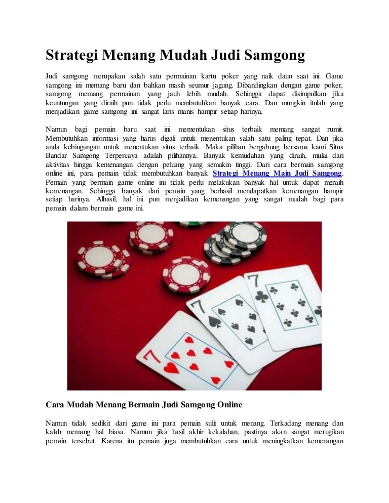 Cara Supaya Menang Judi Kartu : supaya, menang, kartu, Strategi, Menang, Mudah, Samgong