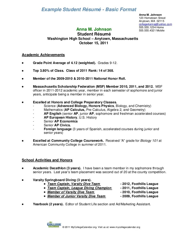 Scholarship Resume Templates Academic Resume Format Free Editable  Resume For Freshman In College