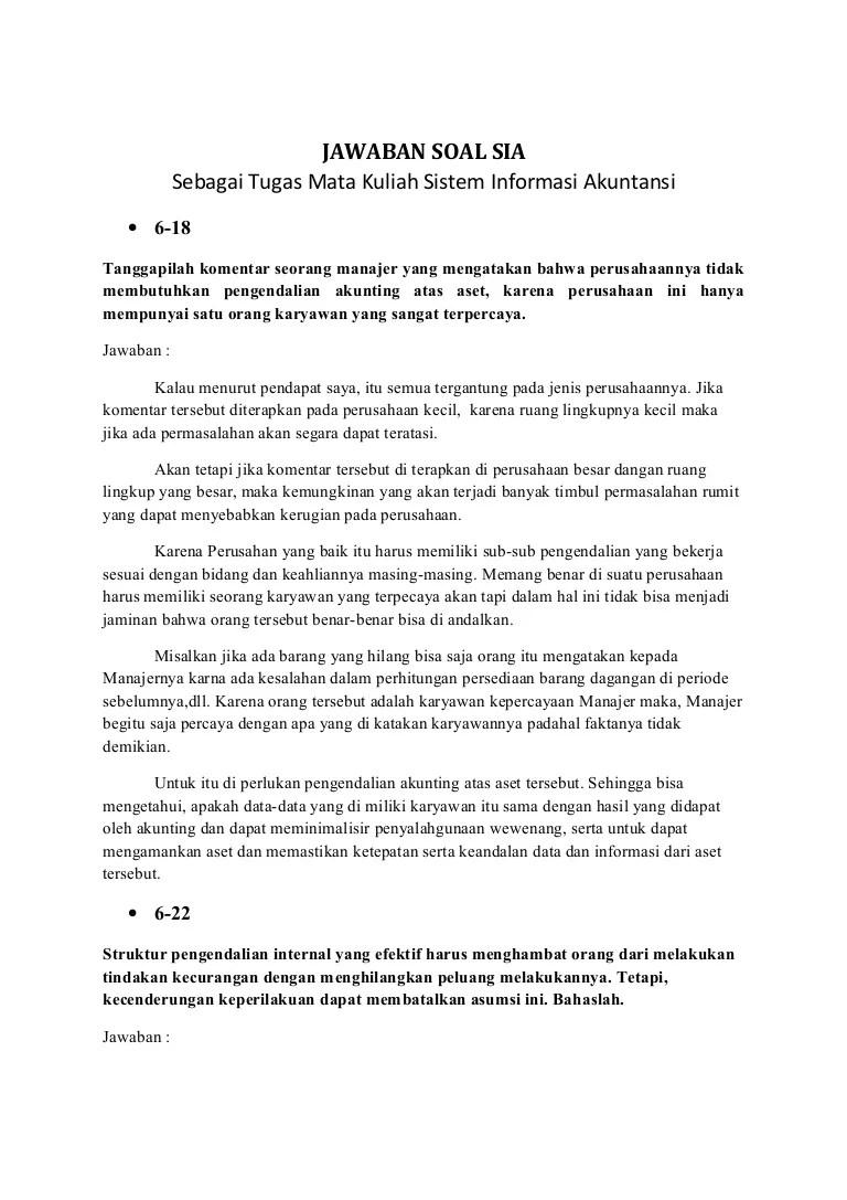 Contoh Soal Kasus Sistem Informasi Akuntansi Dan Jawabannya Dunia Sekolah Id Cute766