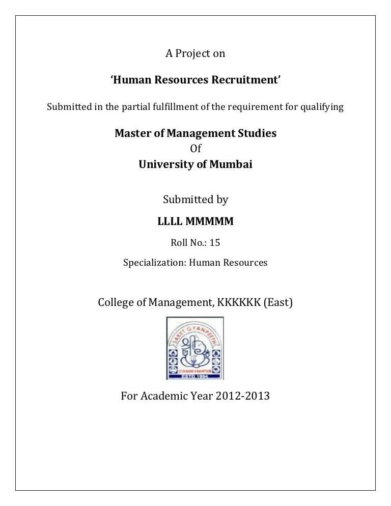 Summer Internship Project Hr Mba Mms