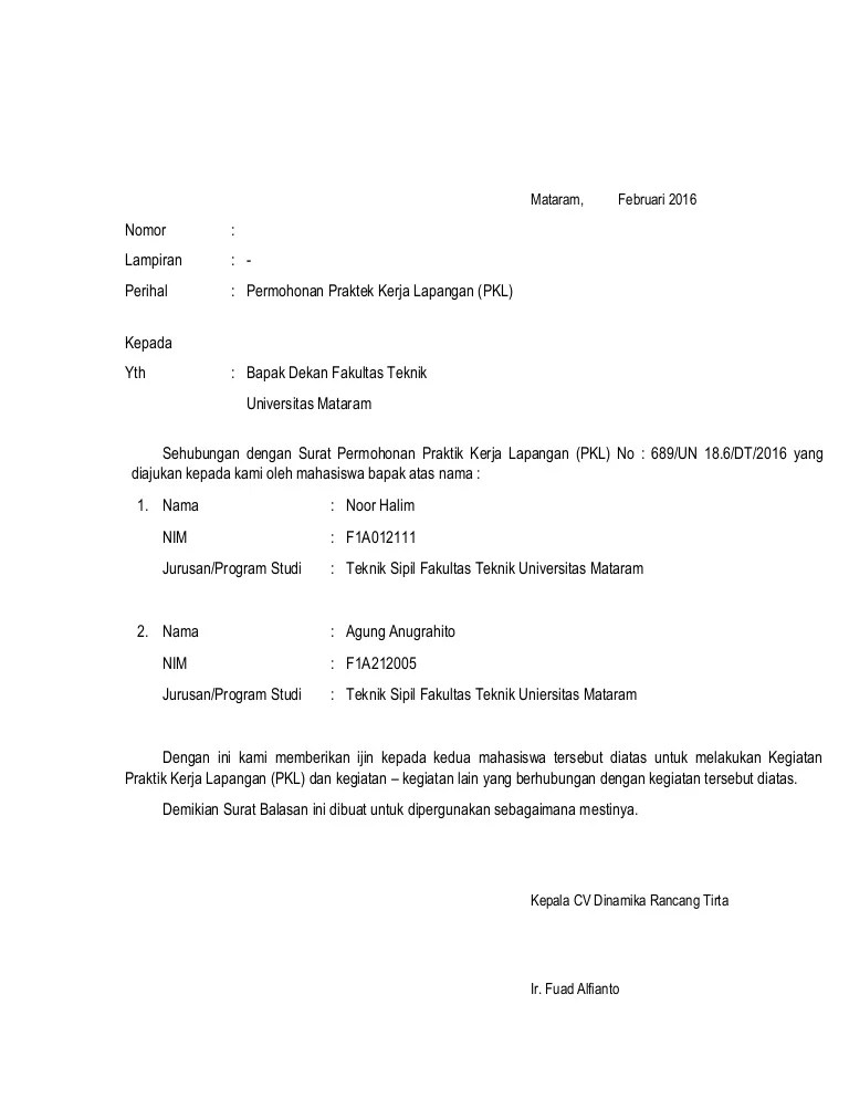 Surat Balasan Pkl Dari Perusahaan Doc : surat, balasan, perusahaan, Surat, Balasan