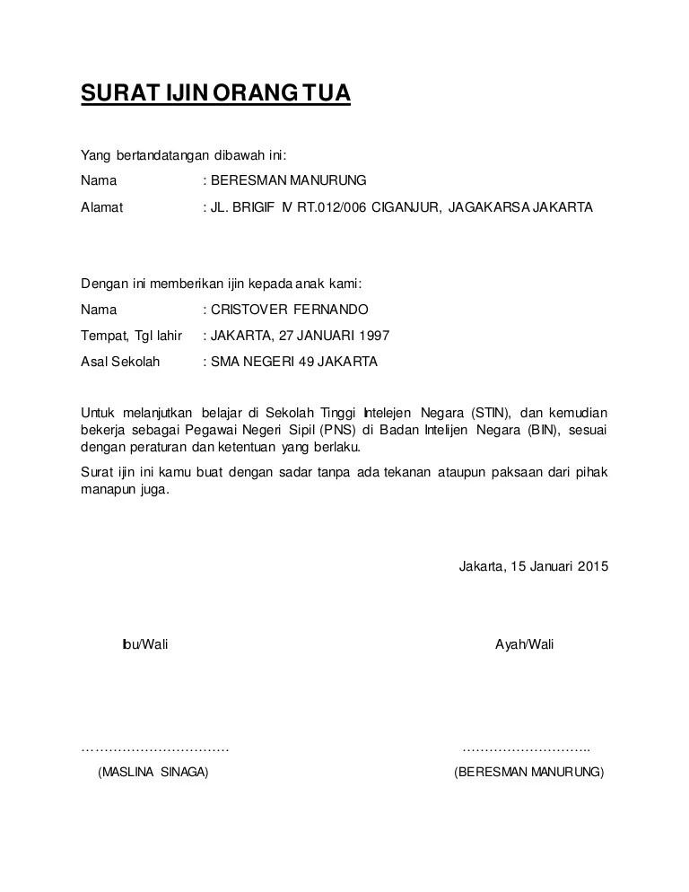 Contoh Surat Izin Orang Tua Untuk Bekerja Di Pabrik Aneka Macam Contoh Cute766
