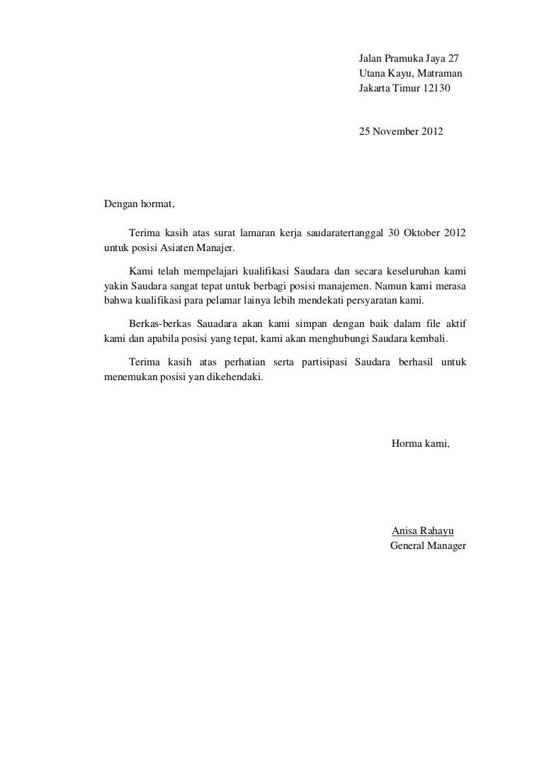 Surat Penolakan Lamaran Kerja B Indo Dan B Ing