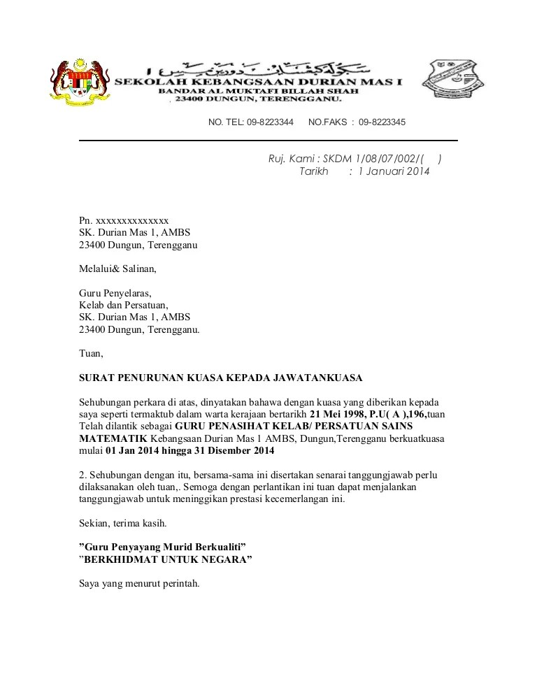 Surat Penurunan Kuasa Persatuan