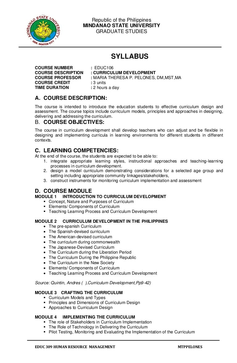 Syllabus Educ 106 Curriculum Development