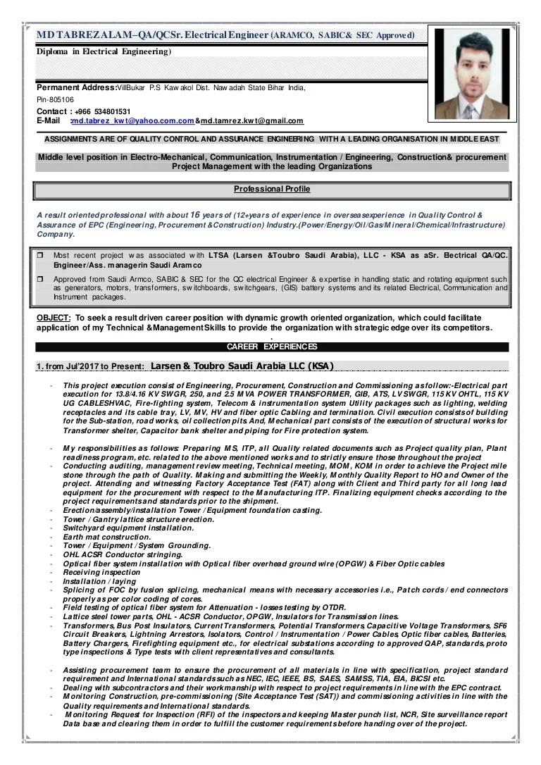 hight resolution of qa qc electrical communication engineer supervisor