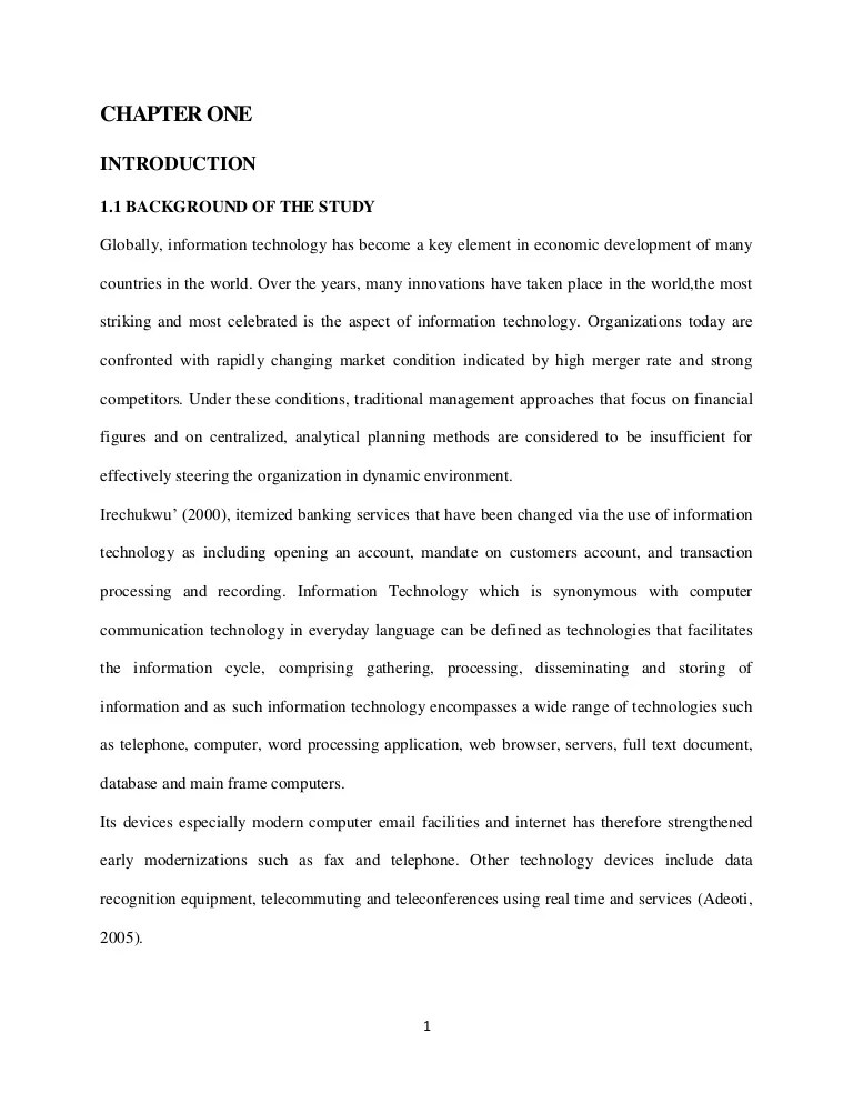 Thesis THE ROLE OF INFORMATION TECHNOLOGY ON COMMERCIAL BANKS IN NIG
