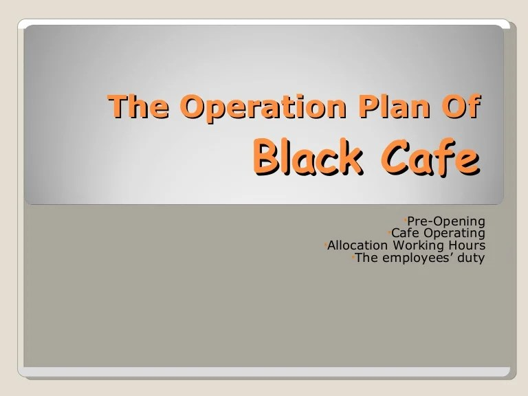 sample operation plan