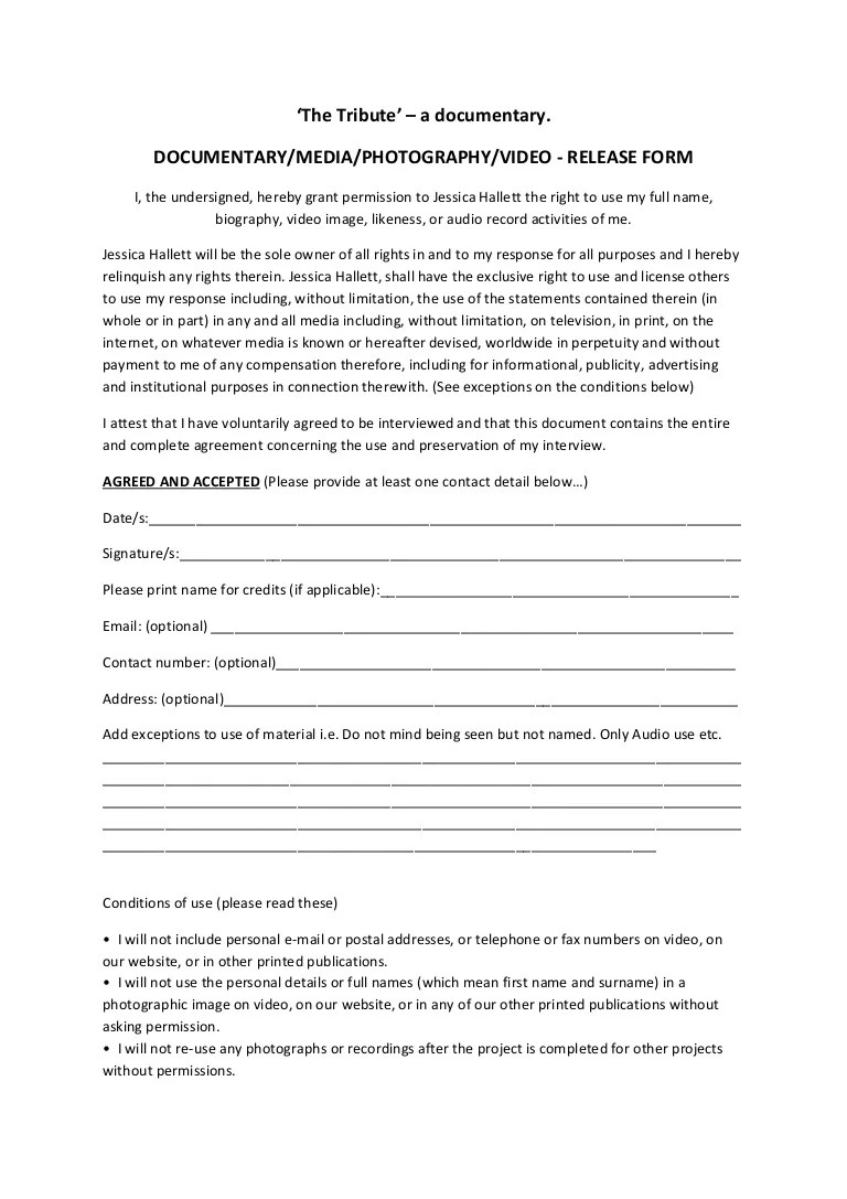 Interview Release Form