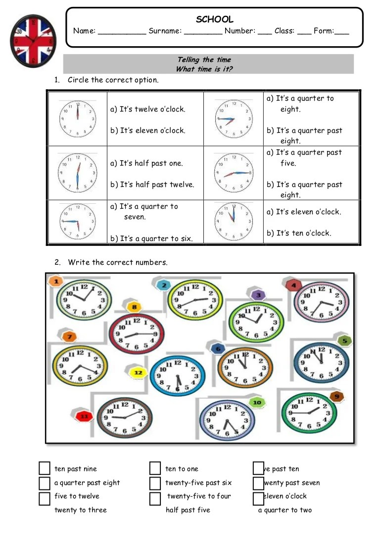 Telling the time: worksheet [ 1087 x 768 Pixel ]