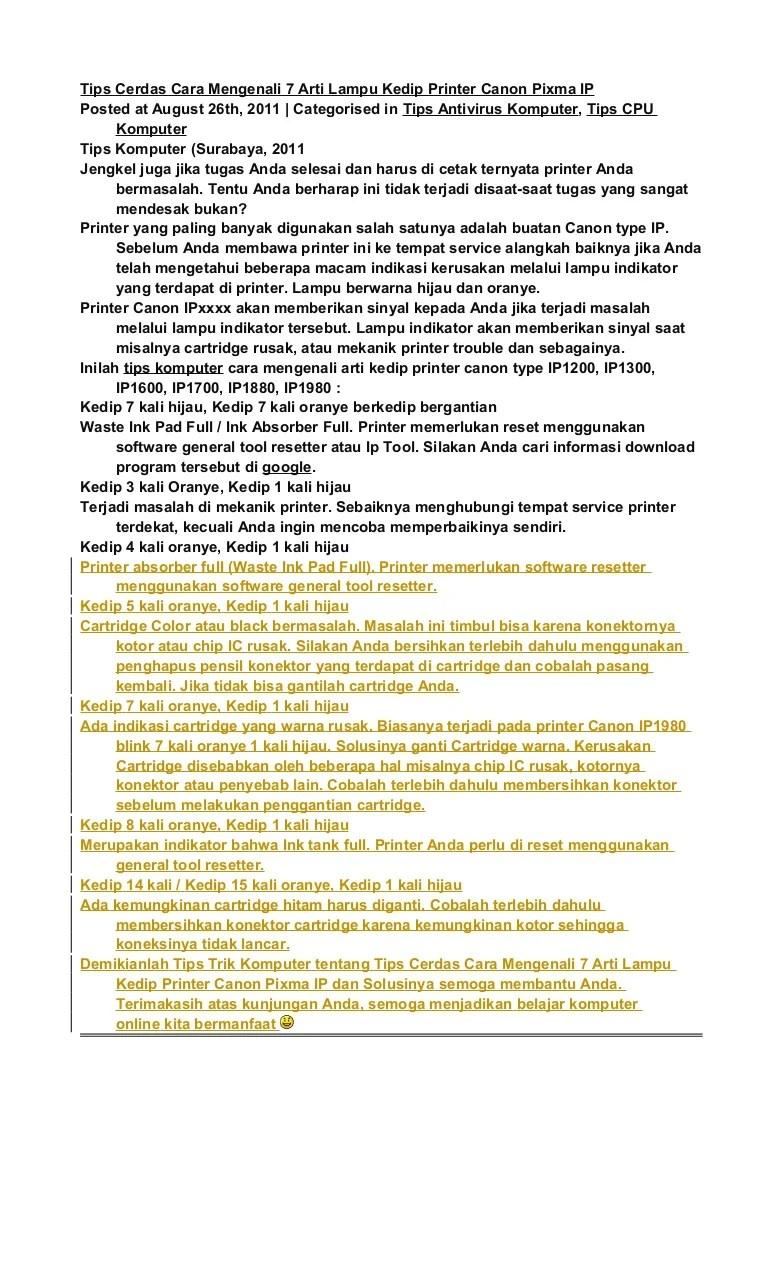 Cara Mengatasi Printer Canon Ip2770 Lampu Kuning Berkedip : mengatasi, printer, canon, ip2770, lampu, kuning, berkedip, Cerdas, Mengenali, Lampu, Kedip, Printer, Canon, Pixma