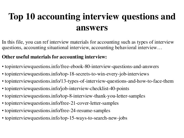 interview questions for an accountant