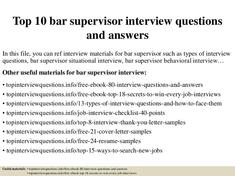 Top 10 bar supervisor interview questions and answers