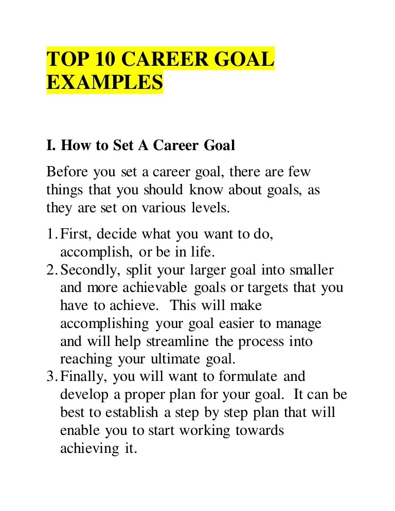 Example Of A Career Goal Military Bralicious Co