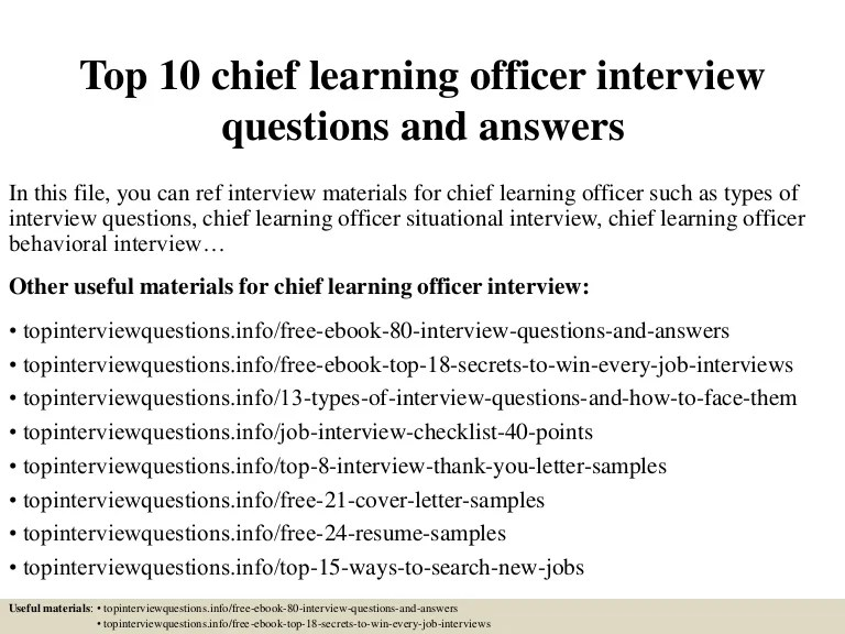 Top 10 Chief Learning Officer Interview Questions And Answers