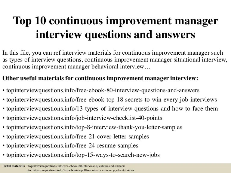 Top 10 Continuous Improvement Manager Interview Questions