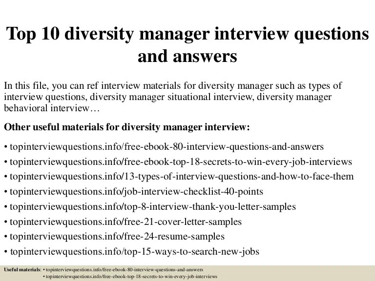 Top 10 Diversity Manager Interview Questions And Answers