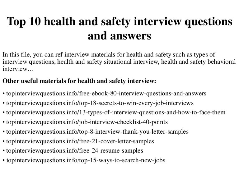 Top 10 health and safety interview questions and answers