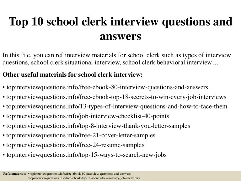 Top 10 school clerk interview questions and answers