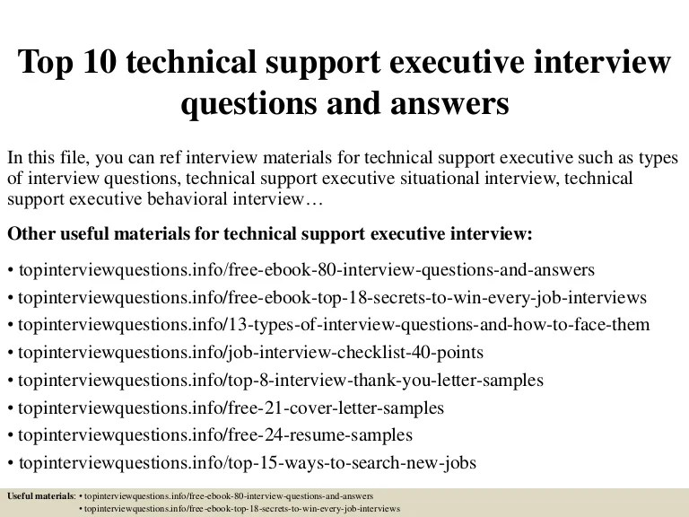 Top 10 Technical Support Executive Interview Questions And
