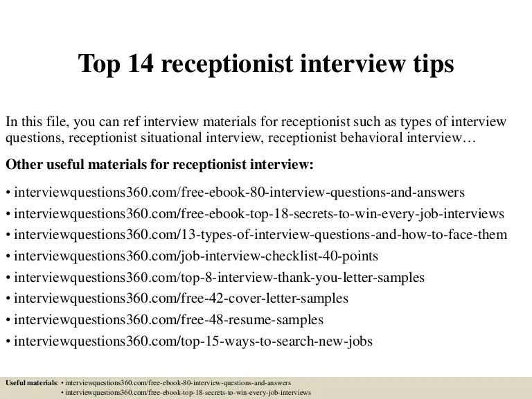Top 14 Receptionist Interview Tips