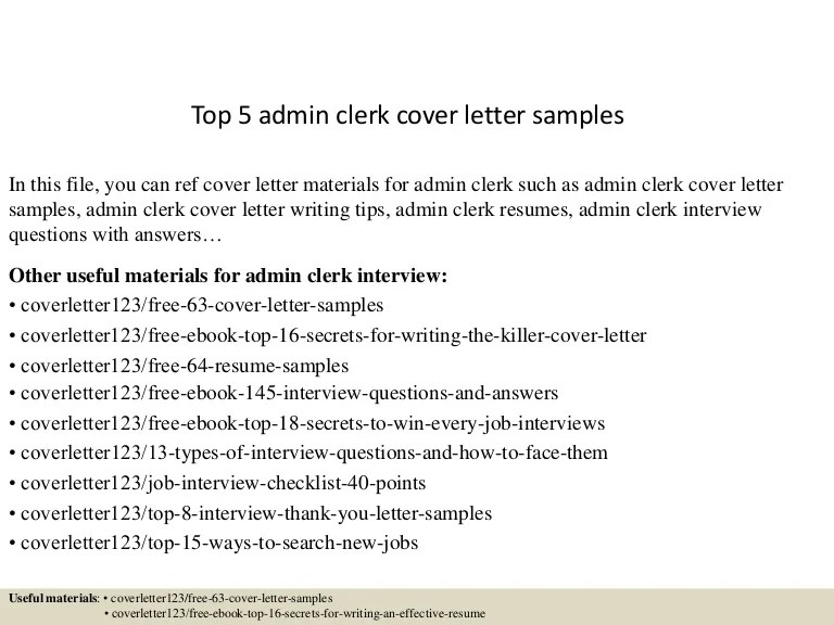 Top 5 admin clerk cover letter samples