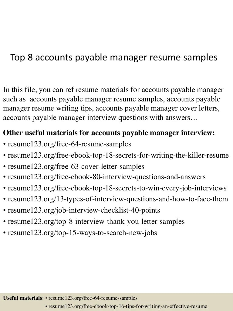 Resume Accounts Payable Top 8 Accounts Payable Manager Resume Samples