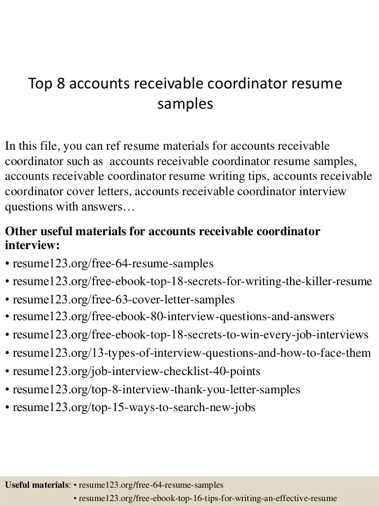 Accounts Receivable Coordinator Cover Letter Top 8 Accounts Receivable Coordinator Resume Samples