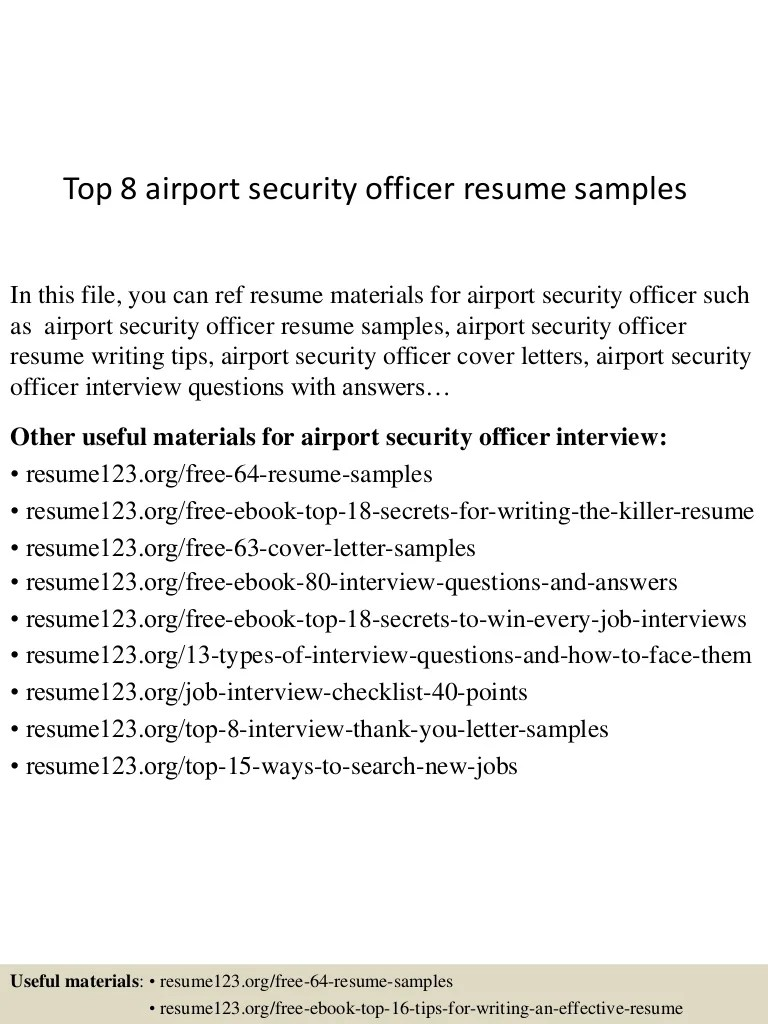 Aviation Security Guard Cover Letter Top 8 Airport Security Officer Resume Samples