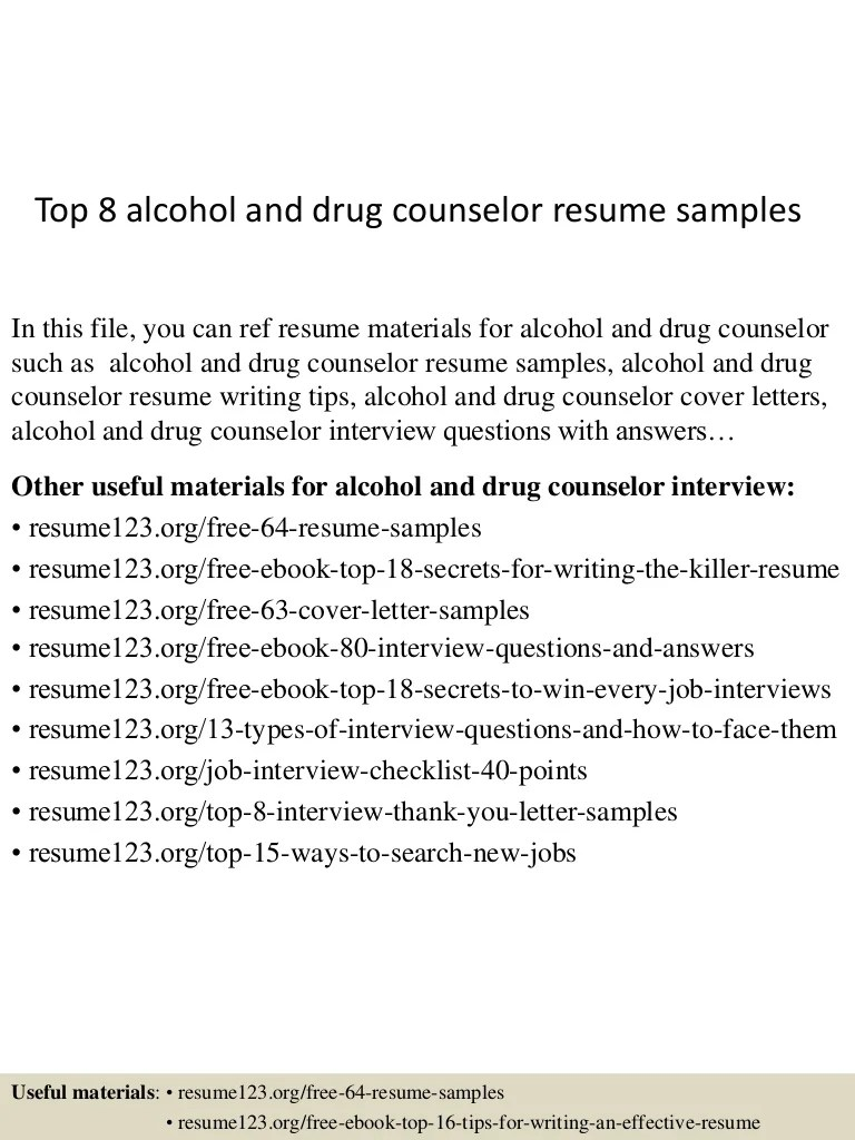 Drug Counselor Cover Letter Top 8 Alcohol And Drug Counselor Resume Samples