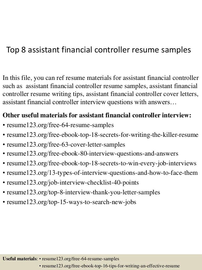 Accounting Controller Cover Letter Assistant Financial Controller Cover Letter