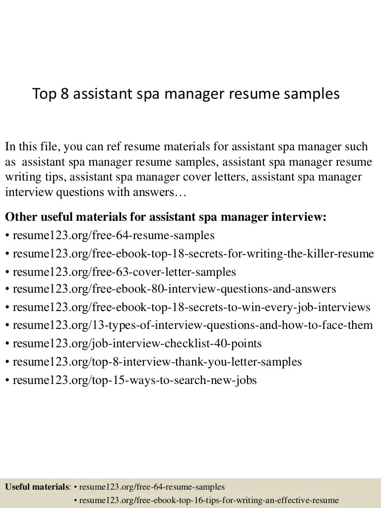Best Assistant Spa Manager Cover Letter Images - New Coloring Pages ...