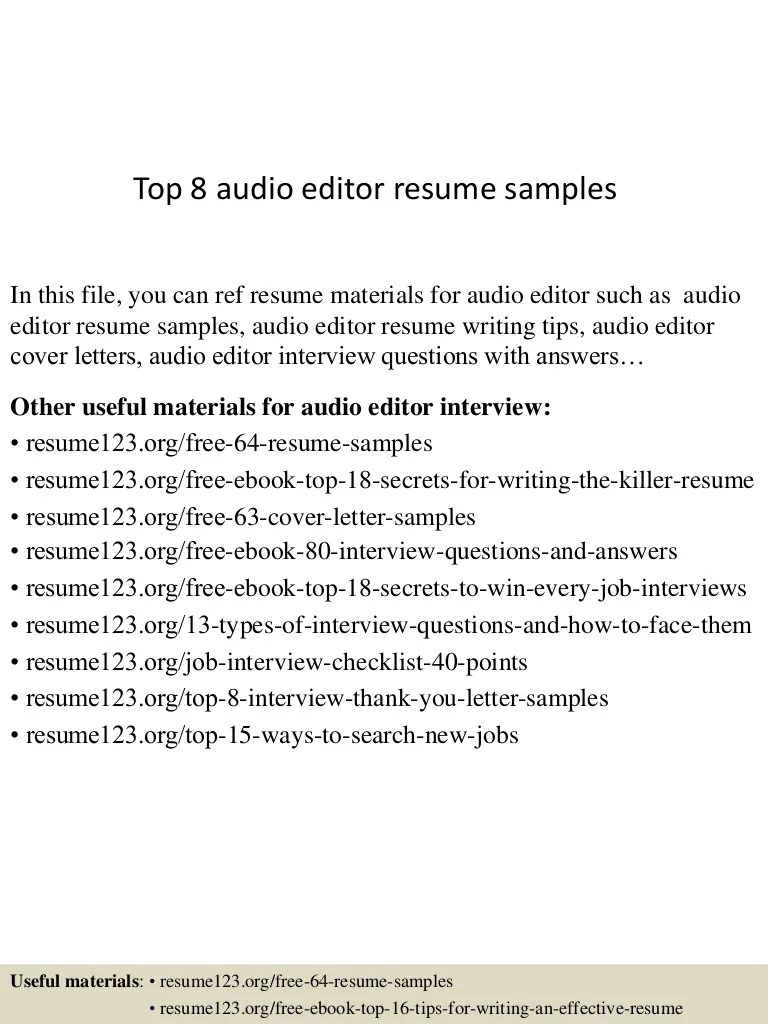 Acquisitions Editor Cover Letter Top 8 Audio Editor Resume Samples