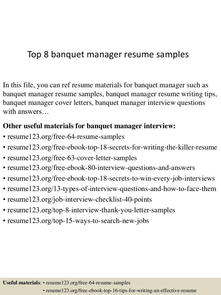 Banquet Sales Manager Cover Letter Top 8 Banquet Manager Resume Samples
