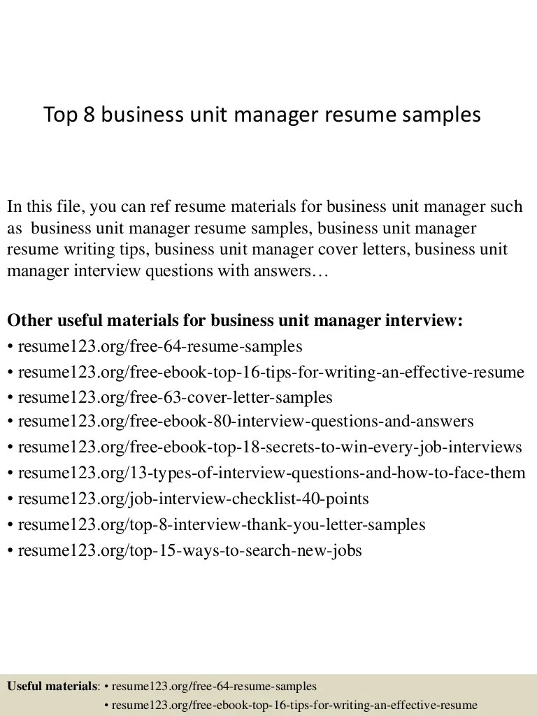 Business Unit Controller Cover Letter Top 8 Business Unit Manager Resume Samples