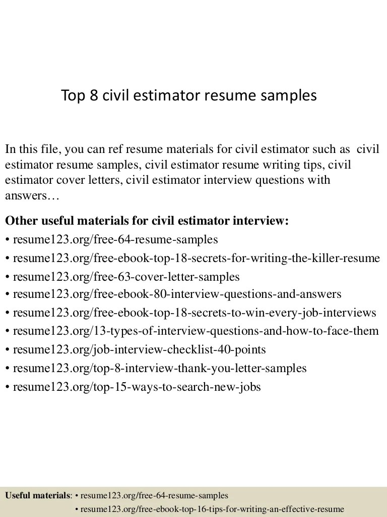 Estimator Cover Letters Top 8 Civil Estimator Resume Samples