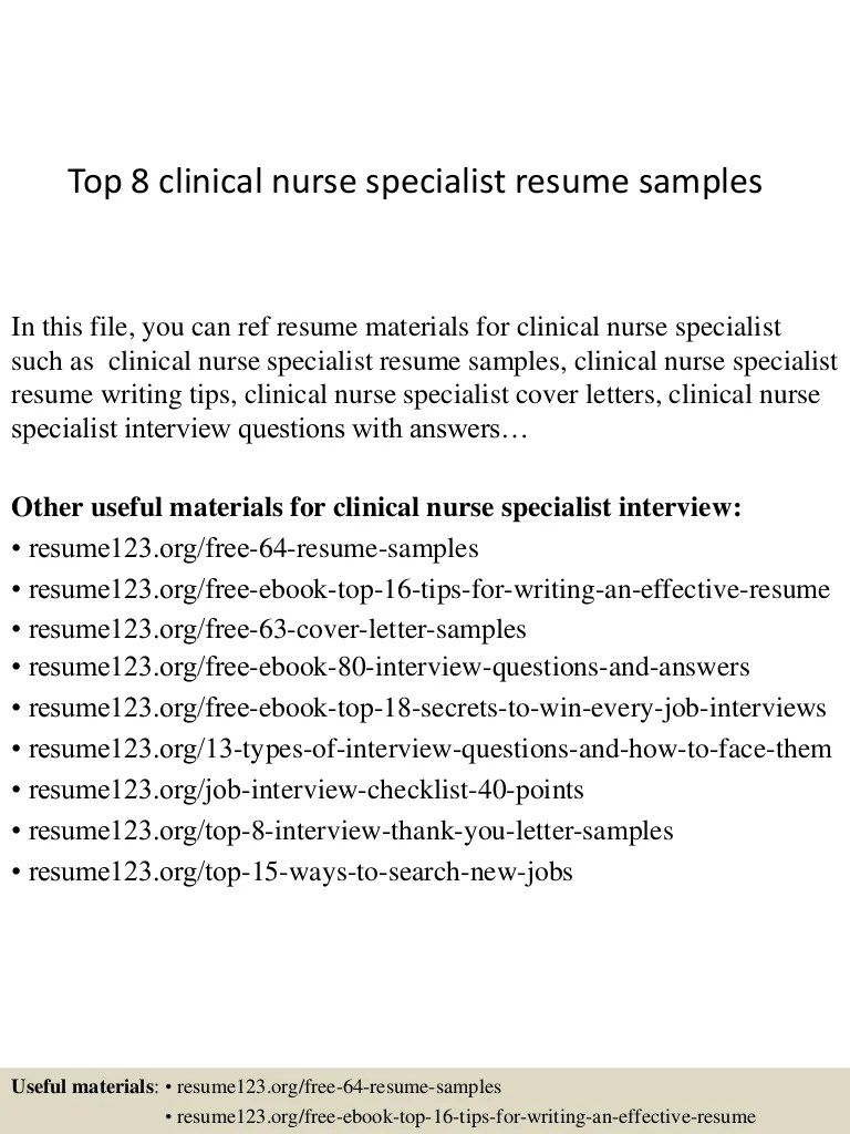 Clinical Nurse Specialist Cover Letter Top 8 Clinical Nurse Specialist Resume Samples