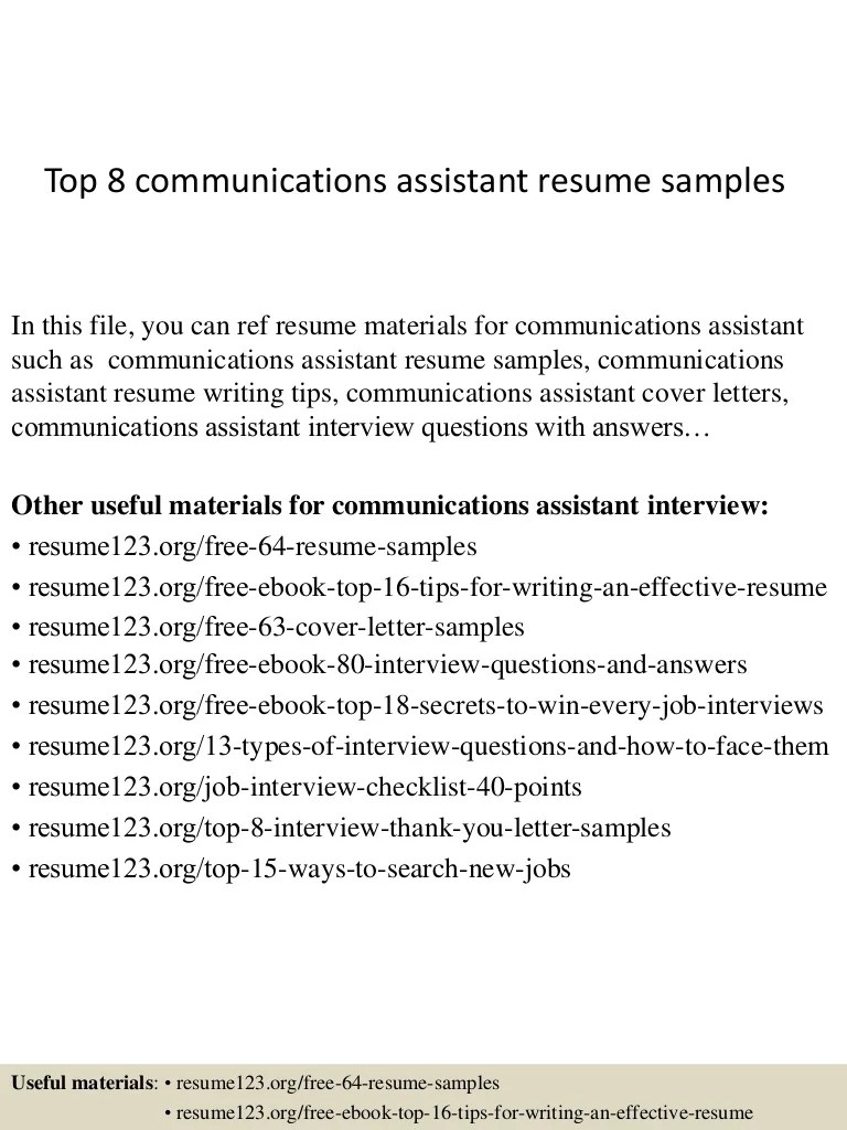 Communications Assistant Cover Letter Top 8 Communications Assistant Resume Samples