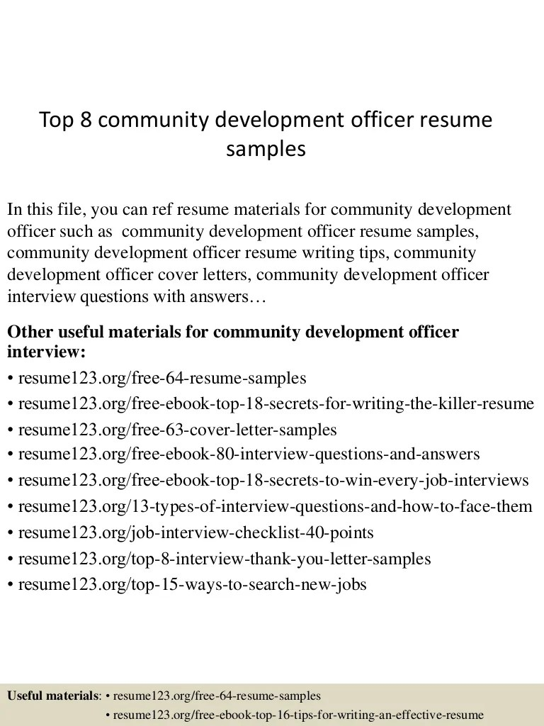 Manufacturing Controller Cover Letter Top 8 Community Development Officer Resume Samples