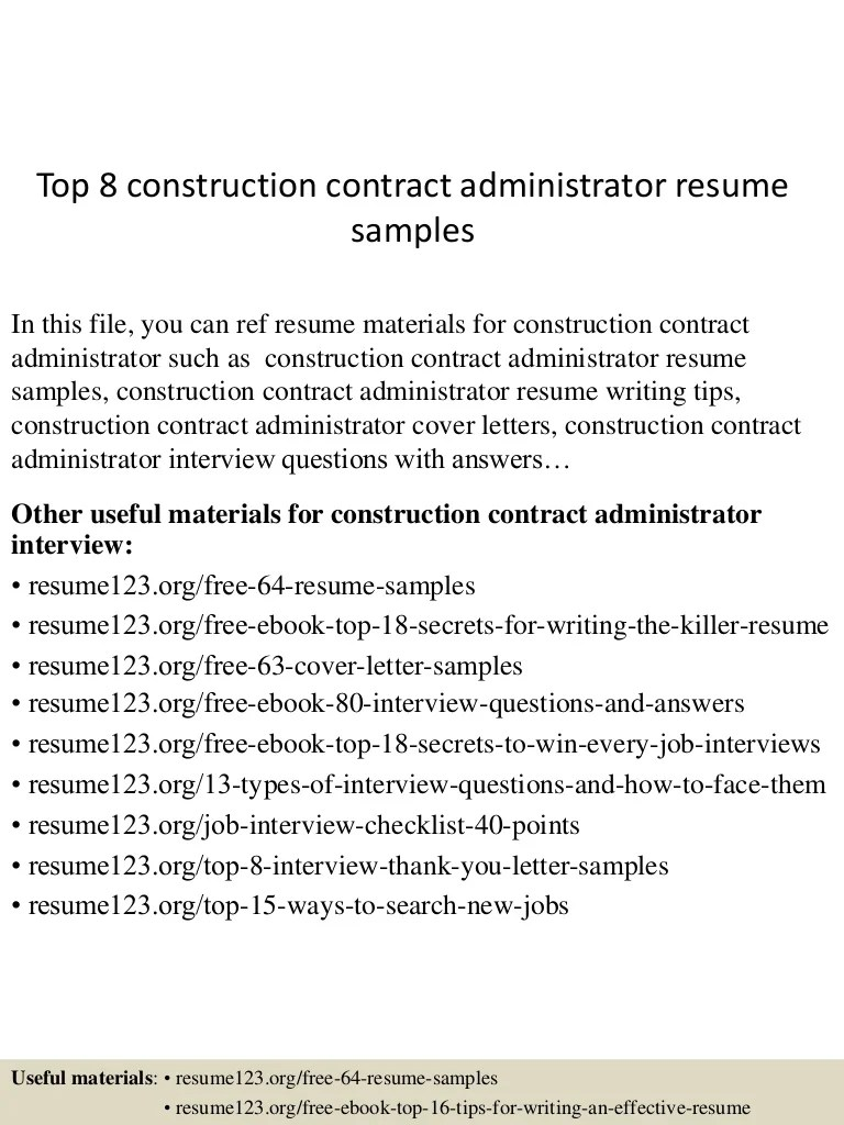 Construction Contract Administrator Cover Letter Top 8 Construction Contract Administrator Resume Samples