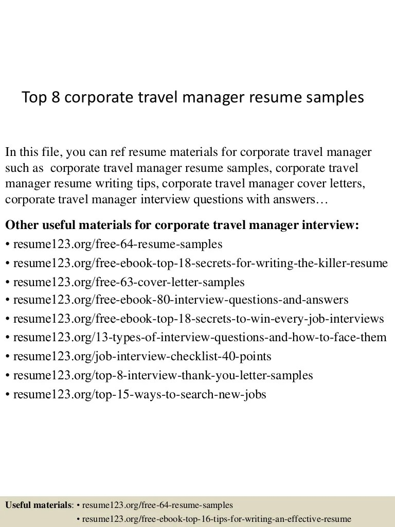 Travel Agency Manager Cover Letter Top 8 Corporate Travel Manager Resume Samples