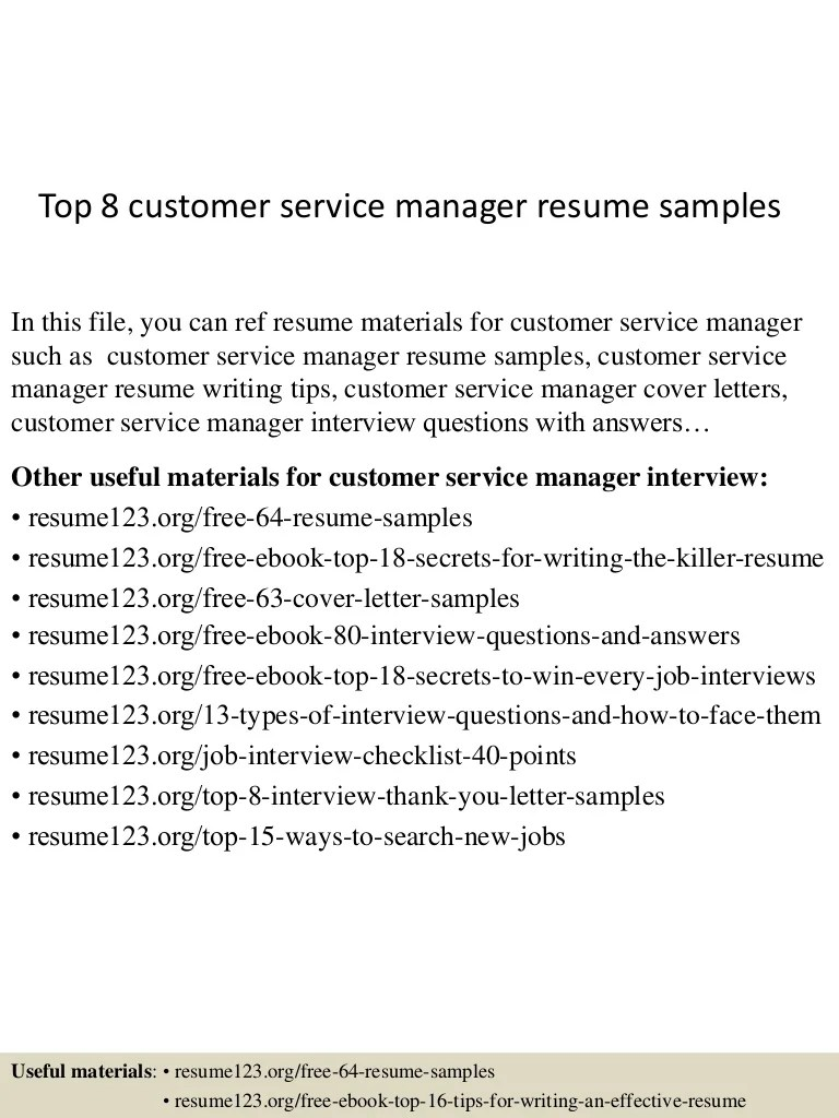 Resume Samples For Customer Service Manager Top 8 Customer Service Manager Resume Samples