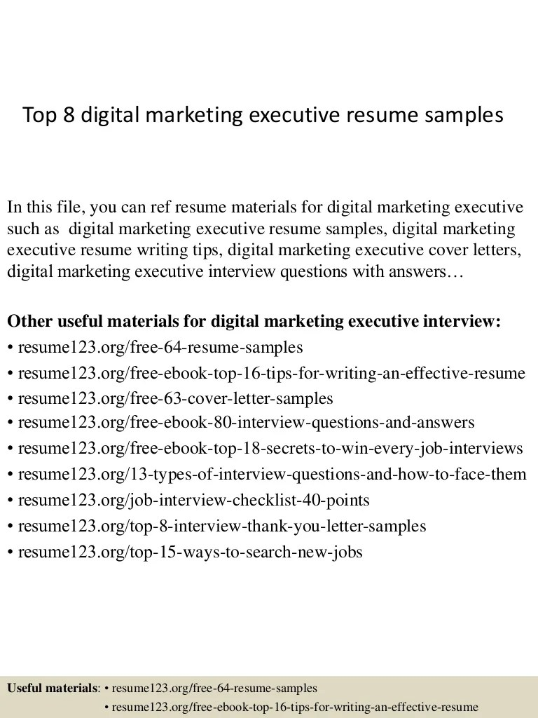 Sales And Marketing Executive Cover Letter Top 8 Digital Marketing Executive Resume Samples