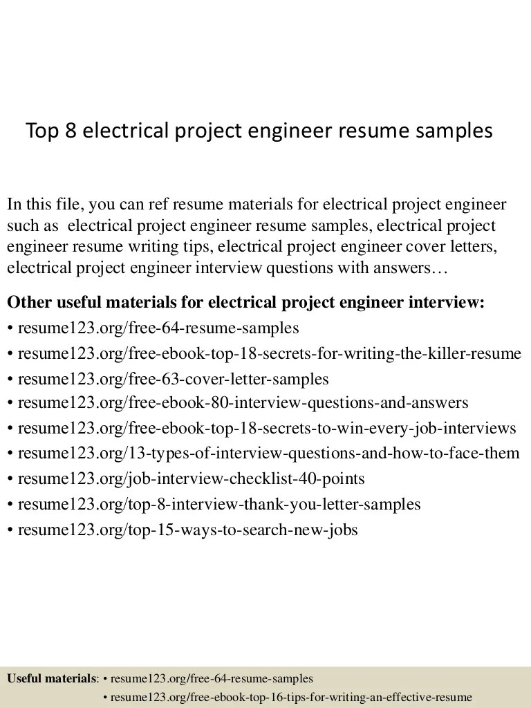 Electrical Project Engineer Resume Sample Top 8 Electrical Project Engineer Resume Samples
