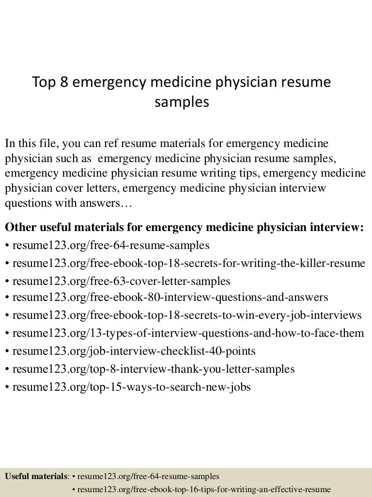 Physician Resumes Top 8 Emergency Medicine Physician Resume Samples