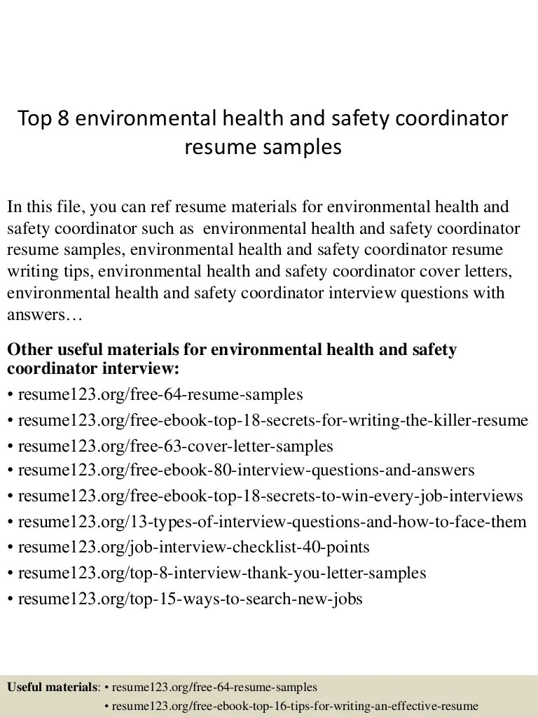 Hse Coordinator Cover Letter Top 8 Environmental Health And Safety Coordinator Resume Samples