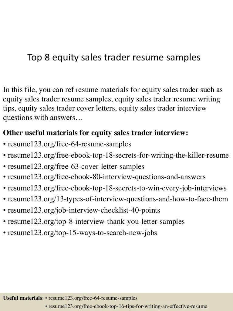 Securities Trader Cover Letter Top 8 Equity Sales Trader Resume Samples