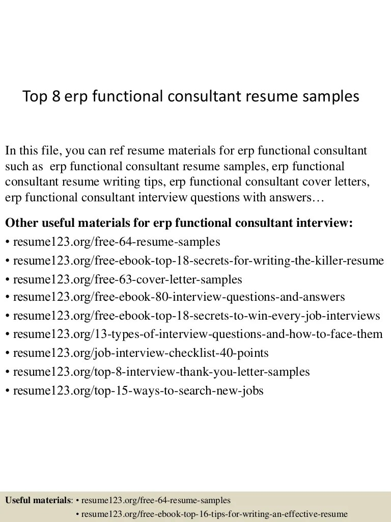 Oracle Financial Functional Consultant Sample Resume Top 8 Erp Functional Consultant Resume Samples