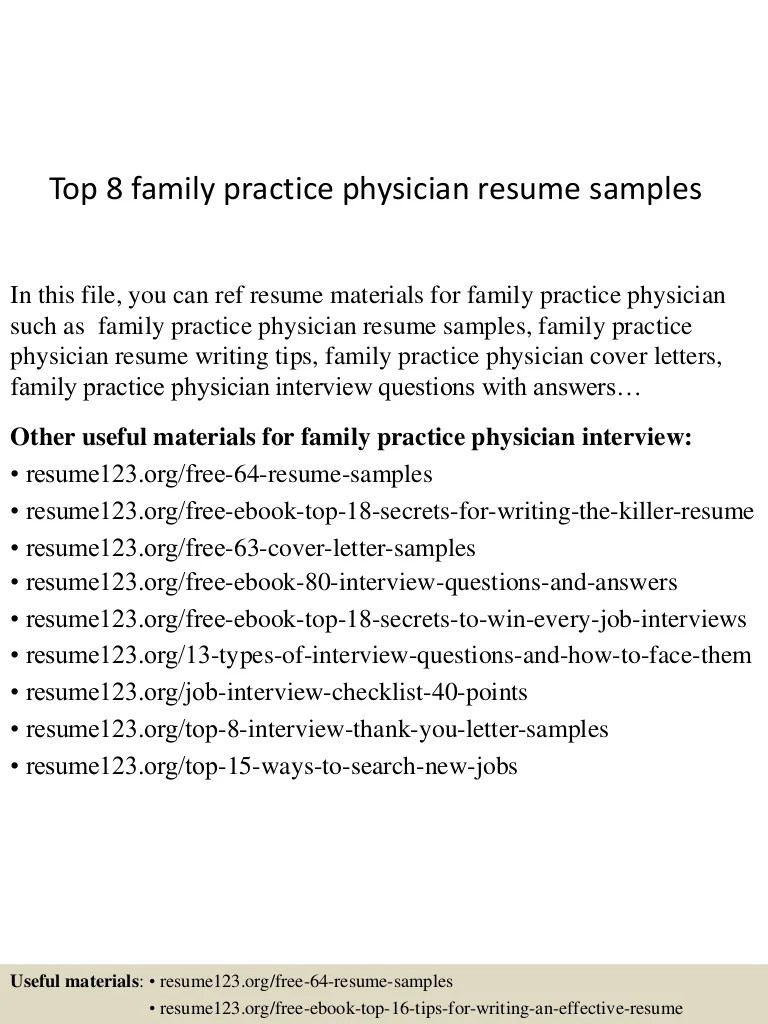 Physician Resumes Top 8 Family Practice Physician Resume Samples
