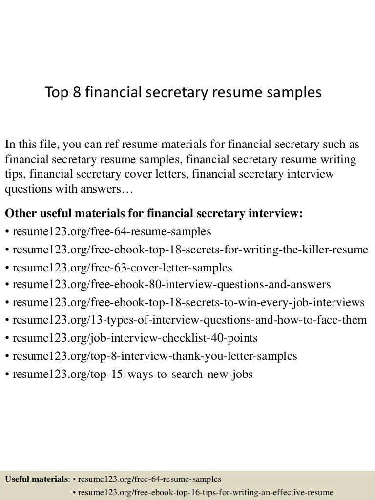 Top8financialsecretaryresumesamples 150522131824 Lva1 App6892 Thumbnail 4 ?cb=1432300749